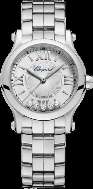 Damenuhr Chopard Happy Sport Mini Automatik mit Diamanten, silberfarbenem Zifferblatt und Edelstahlarmband