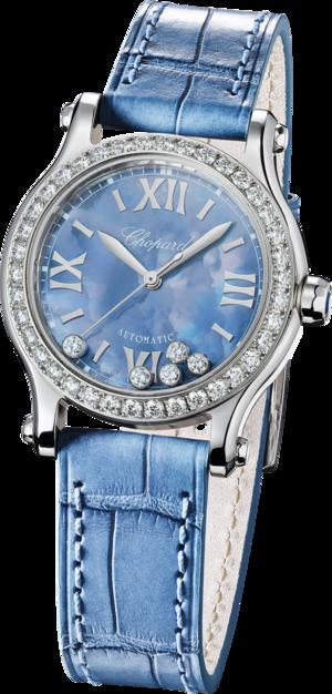 Damenuhr Chopard Happy Sport Mini Automatik mit Diamanten, Zifferblatt und Alligatorenleder-Armband
