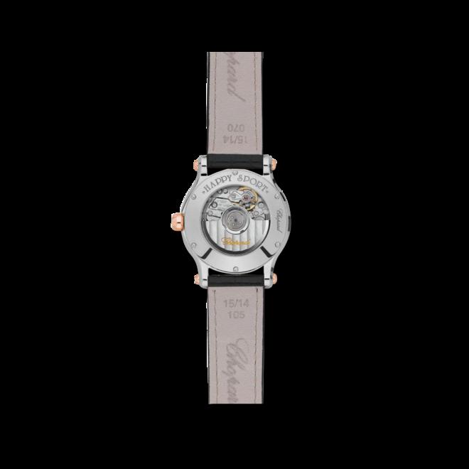 Damenuhr Chopard Happy Sport Mini Automatik mit Diamanten, silberfarbenem Zifferblatt und Alligatorenleder-Armband bei Brogle