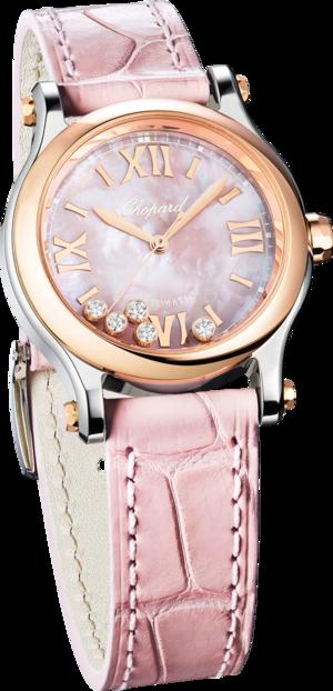 Damenuhr Chopard Happy Sport Mini Automatik mit Diamanten, roséfarbenem Zifferblatt und Alligatorenleder-Armband