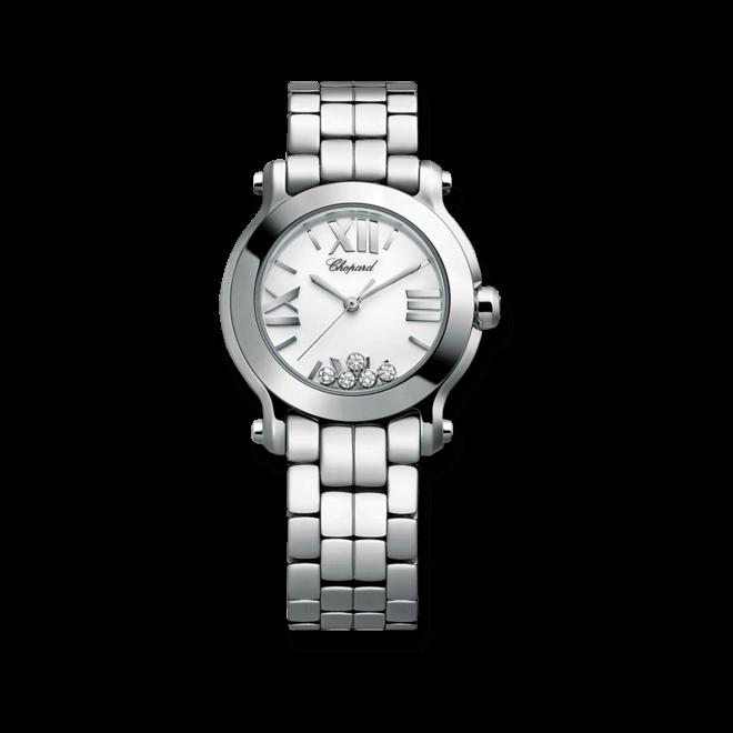Damenuhr Chopard Happy Sport Mini Quarz mit Diamanten, weißem Zifferblatt und Edelstahlarmband