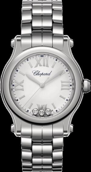 Damenuhr Chopard Happy Sport Mini Quarz mit Diamanten, silberfarbenem Zifferblatt und Edelstahlarmband
