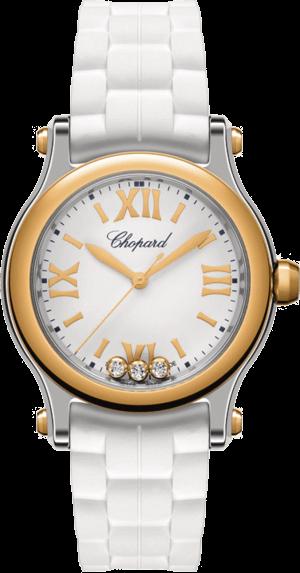 Damenuhr Chopard Happy Sport Mini Quarz mit Diamanten, silberfarbenem Zifferblatt und Kautschukarmband
