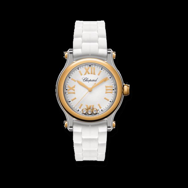 Damenuhr Chopard Happy Sport Mini Quarz mit Diamanten, silberfarbenem Zifferblatt und Kautschukarmband bei Brogle