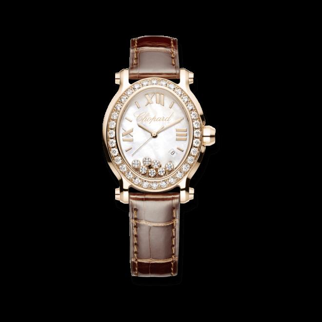 Damenuhr Chopard Happy Sport Oval Quarz mit Diamanten, perlmuttfarbenem Zifferblatt und Krokodilleder-Armband