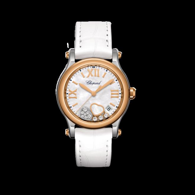 Damenuhr Chopard Happy Sport Quarz 36mm mit Diamanten, perlmuttfarbenem Zifferblatt und Alligatorenleder-Armband bei Brogle
