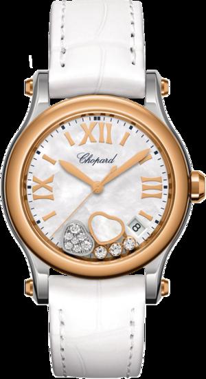 Damenuhr Chopard Happy Sport Quarz 36mm mit Diamanten, perlmuttfarbenem Zifferblatt und Alligatorenleder-Armband