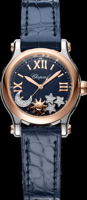 Damenuhr Chopard Happy Sport Sonne, Mond und Sterne mit Diamanten, blauem Zifferblatt und Alligatorenleder-Armband