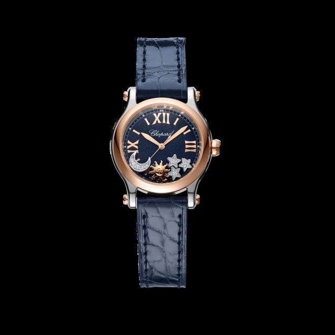 Damenuhr Chopard Happy Sport Sonne, Mond und Sterne mit Diamanten, blauem Zifferblatt und Alligatorenleder-Armband bei Brogle