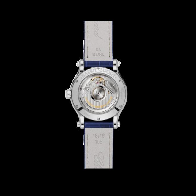 Damenuhr Chopard Happy Sport Sonne, Mond und Sterne Automatik mit Diamanten, blauem Zifferblatt und Alligatorenleder-Armband bei Brogle