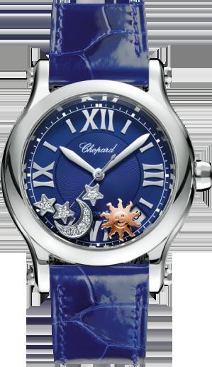 Damenuhr Chopard Happy Sport Sonne, Mond und Sterne Automatik mit Diamanten, blauem Zifferblatt und Alligatorenleder-Armband
