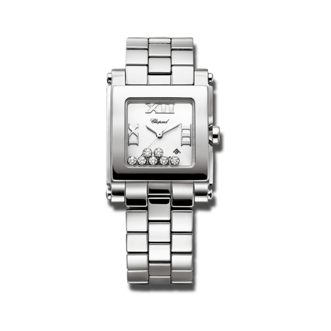 Damenuhr Chopard Happy Sport Square Medium Quarz mit Diamanten, silberfarbenem Zifferblatt und Edelstahlarmband