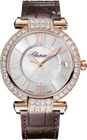 Damenuhr Chopard Imperiale Automatik mit Diamanten, weißem Zifferblatt und Krokodilleder-Armband