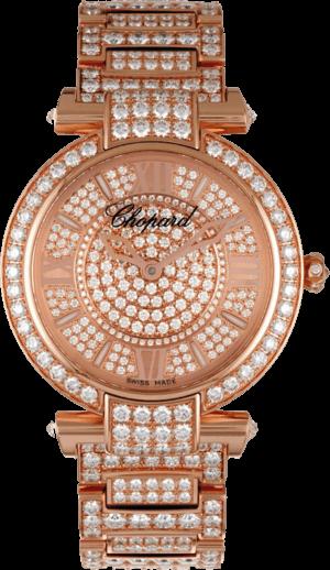 Damenuhr Chopard Imperiale Automatik mit Diamanten, silberfarbenem Zifferblatt und Roségoldarmband