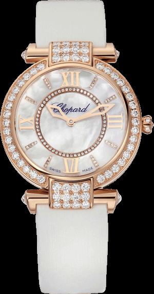 Damenuhr Chopard Imperiale Automatik mit Diamanten, weißem Zifferblatt und Textilarmband