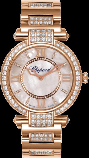 Damenuhr Chopard Imperiale Automatik mit Diamanten, weißem Zifferblatt und Roségoldarmband