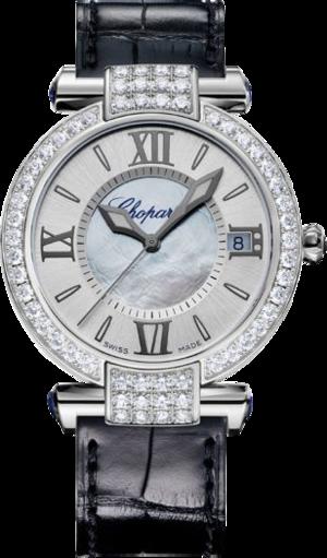 Damenuhr Chopard Imperiale Automatik mit Diamanten, silberfarbenem Zifferblatt und Krokodilleder-Armband