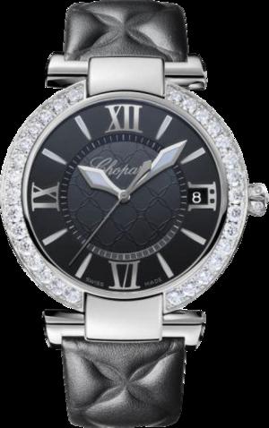Damenuhr Chopard Imperiale Automatik mit Diamanten, schwarzem Zifferblatt und Kalbsleder-Armband