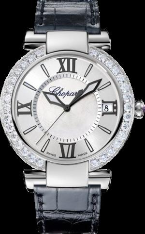 Damenuhr Chopard Imperiale Automatik mit Diamanten, weißem Zifferblatt und Alligatorenleder-Armband