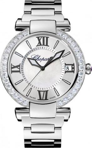 Damenuhr Chopard Imperiale Automatik mit Diamanten, perlmuttfarbenem Zifferblatt und Edelstahlarmband