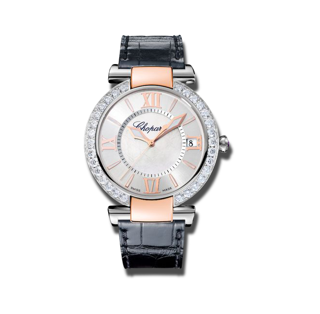 Damenuhr Chopard Imperiale Automatik mit Diamanten, silberfarbenem Zifferblatt und Alligatorenleder-Armband bei Brogle