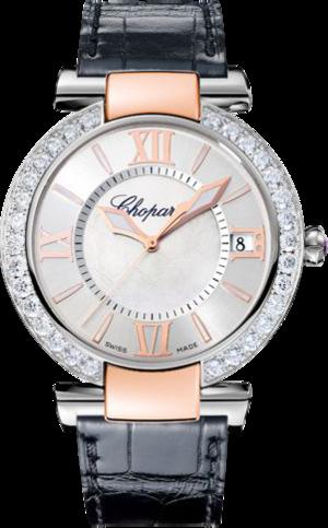 Damenuhr Chopard Imperiale Automatik mit Diamanten, silberfarbenem Zifferblatt und Alligatorenleder-Armband