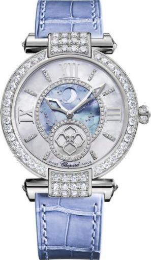 Damenuhr Chopard Imperiale Automatik Mondphase mit Diamanten, perlmuttfarbenem Zifferblatt und Krokodilleder-Armband