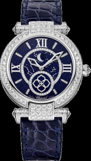 Damenuhr Chopard Imperiale Automatik Mondphase mit Diamanten, blauem Zifferblatt und Alligatorenleder-Armband