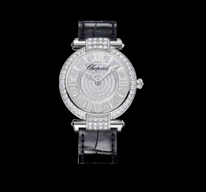 Damenuhr Chopard Imperiale Automatik 36mm mit Diamanten, silberfarbenem Zifferblatt und Alligatorenleder-Armband