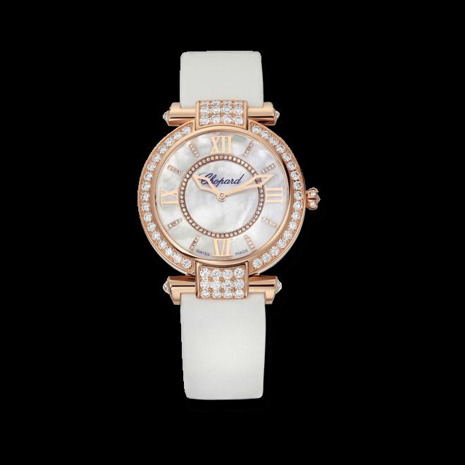Damenuhr Chopard Imperiale Automatik 36mm mit Diamanten, weißem Zifferblatt und Textilarmband