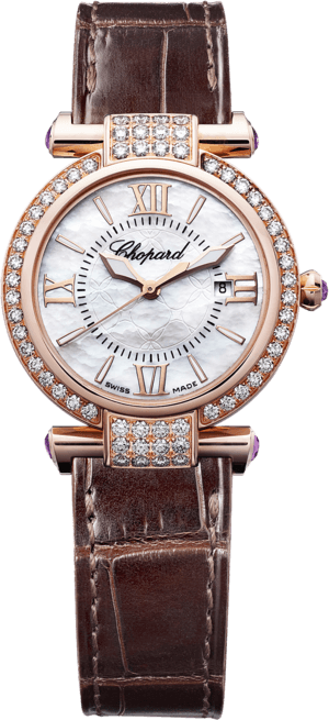 Damenuhr Chopard Imperiale Quarz mit Diamanten, perlmuttfarbenem Zifferblatt und Krokodilleder-Armband