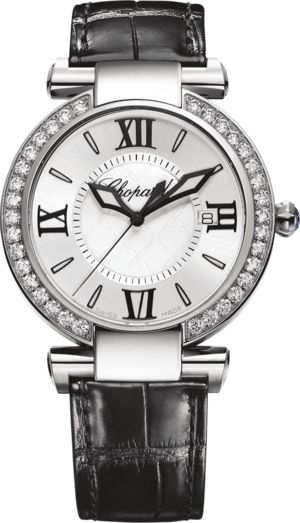 Damenuhr Chopard Imperiale Quarz mit Diamanten, weißem Zifferblatt und Krokodilleder-Armband