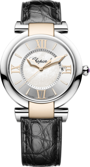 Damenuhr Chopard Imperiale Quarz mit weißem Zifferblatt und Krokodilleder-Armband