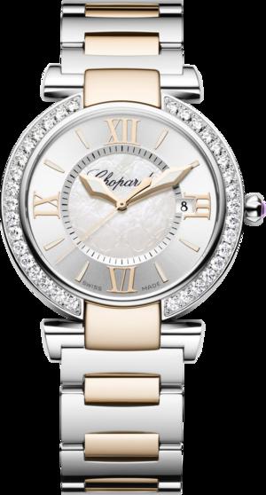 Damenuhr Chopard Imperiale Quarz mit Diamanten, weißem Zifferblatt und Edelstahlarmband
