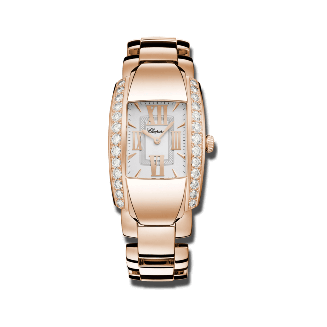 Damenuhr Chopard La Strada Quarz mit Diamanten, silberfarbenem Zifferblatt und Roségoldarmband