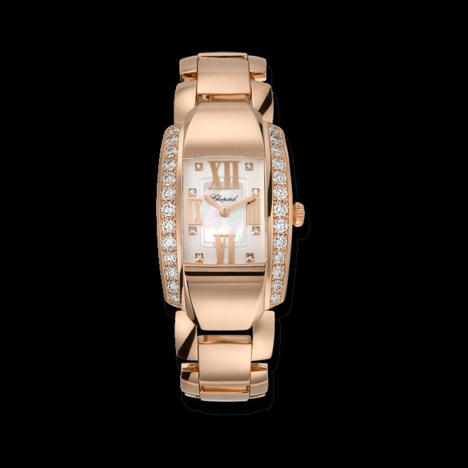 Damenuhr Chopard La Strada Quarz mit Diamanten, weißem Zifferblatt und Roségoldarmband