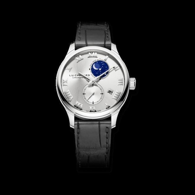 Herrenuhr Chopard Lunar Twin mit silberfarbenem Zifferblatt und Alligatorenleder-Armband