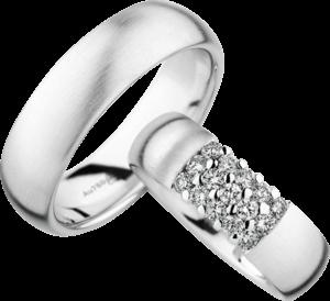 Trauring Christian Bauer aus 750 Weißgold mit 15 Diamanten (0,45 Karat)