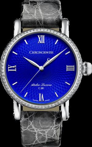 Damenuhr Chronoswiss Artist Automatik 40mm mit Diamanten, blauem Zifferblatt und Alligatorenleder-Armband