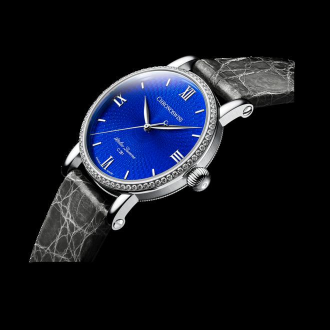 Damenuhr Chronoswiss Artist Automatik 40mm mit Diamanten, blauem Zifferblatt und Alligatorenleder-Armband bei Brogle