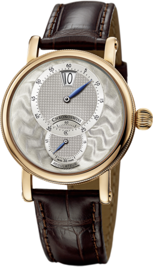 Armbanduhr Chronoswiss Artist Regulator Jumping Hour mit silberfarbenem Zifferblatt und Alligatorenleder-Armband
