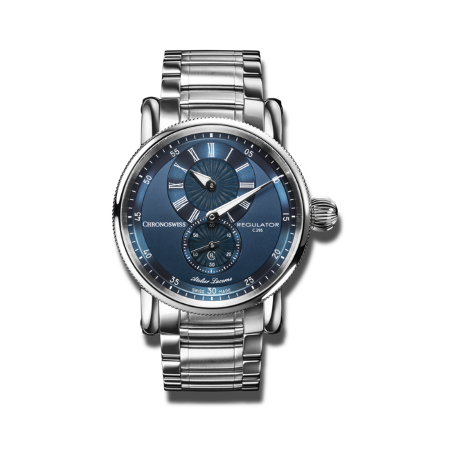 Armbanduhr Chronoswiss Regulator Classic mit blauem Zifferblatt und Edelstahlarmband bei Brogle