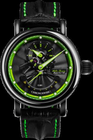 Herrenuhr Chronoswiss Flying Grand Regulator Open Gear ReSec mit zweifarbigem Zifferblatt und Krokodilleder-Armband