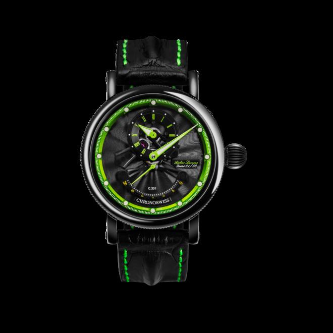 Herrenuhr Chronoswiss Flying Grand Regulator Open Gear ReSec mit zweifarbigem Zifferblatt und Krokodilleder-Armband bei Brogle