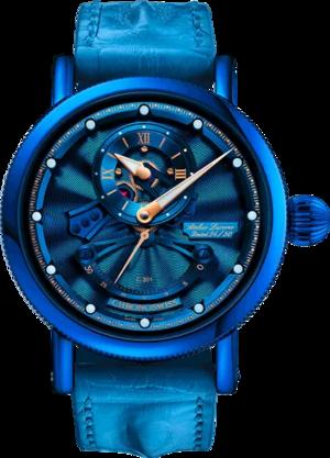 Herrenuhr Chronoswiss Flying Grand Regulator Open Gear ReSec mit blauem Zifferblatt und Krokodilleder-Armband