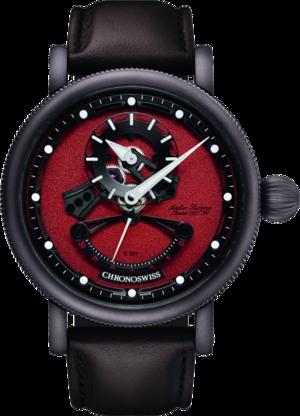 Herrenuhr Chronoswiss Flying Grand Regulator Open Gear ReSec Chocolate mit rotem Zifferblatt und Krokodilleder-Armband
