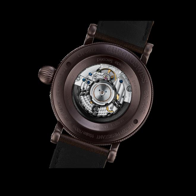 Herrenuhr Chronoswiss Flying Grand Regulator Open Gear ReSec Chocolate mit rotem Zifferblatt und Krokodilleder-Armband bei Brogle