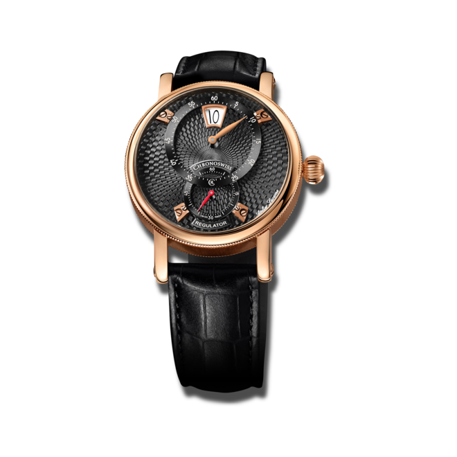 Armbanduhr Chronoswiss Flying Regulator Jumping Hour mit schwarzem Zifferblatt und Alligatorenleder-Armband bei Brogle