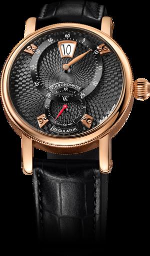 Armbanduhr Chronoswiss Flying Regulator Jumping Hour mit schwarzem Zifferblatt und Alligatorenleder-Armband