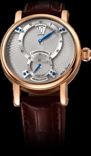 Armbanduhr Chronoswiss Flying Regulator Jumping Hour mit silberfarbenem Zifferblatt und Alligatorenleder-Armband